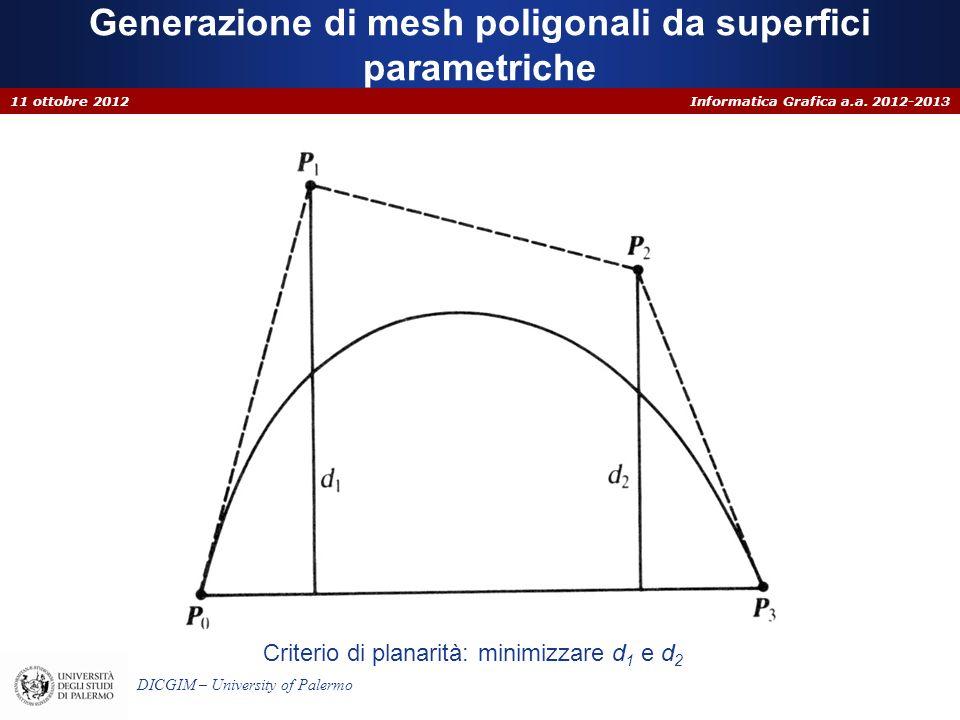 Informatica Grafica a.a. 2012-2013 DICGIM – University of Palermo Generazione di mesh poligonali da superfici parametriche 11 ottobre 2012 Criterio di