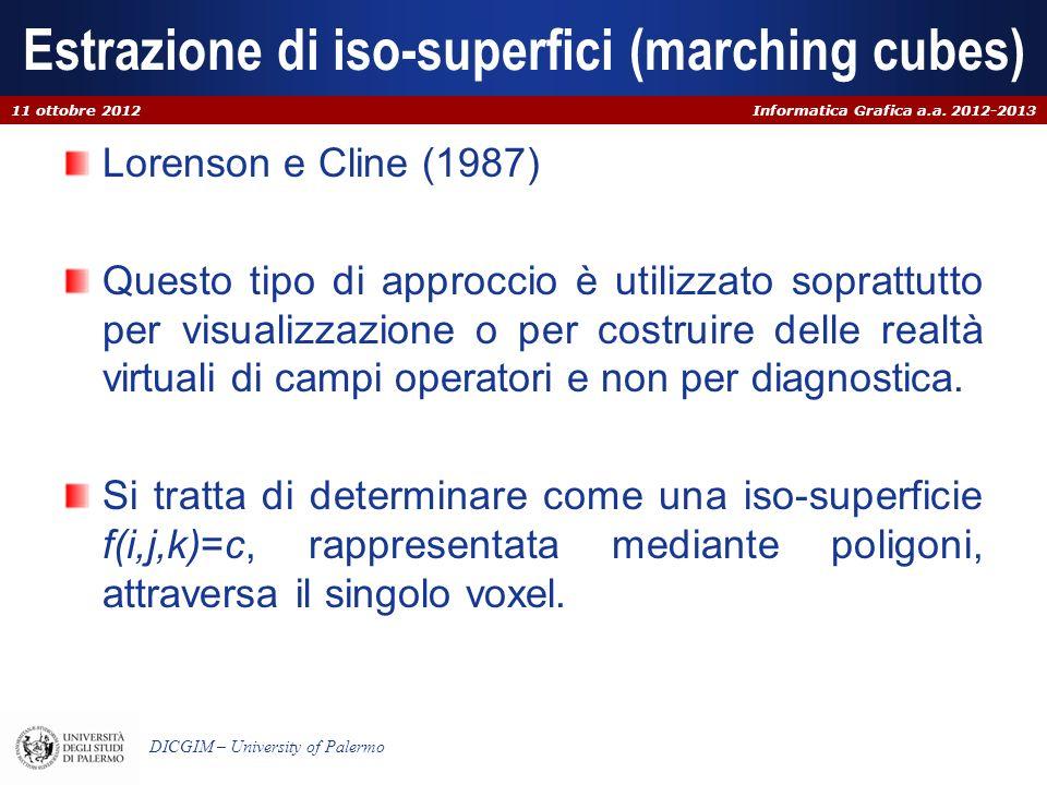 Informatica Grafica a.a. 2012-2013 DICGIM – University of Palermo Estrazione di iso-superfici (marching cubes) Lorenson e Cline (1987) Questo tipo di
