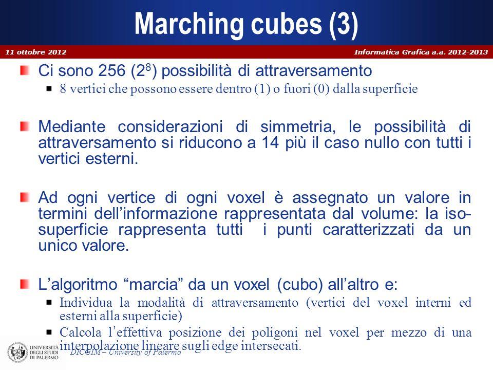Informatica Grafica a.a. 2012-2013 DICGIM – University of Palermo Marching cubes (3) Ci sono 256 (2 8 ) possibilità di attraversamento 8 vertici che p