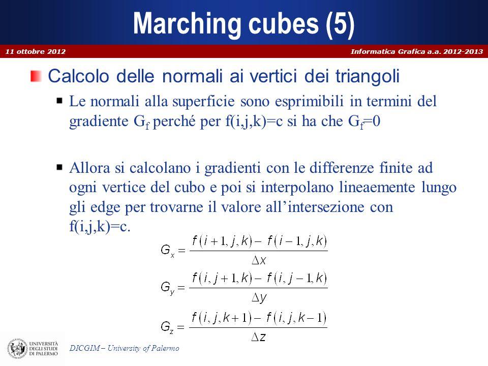 Informatica Grafica a.a. 2012-2013 DICGIM – University of Palermo Marching cubes (5) Calcolo delle normali ai vertici dei triangoli Le normali alla su