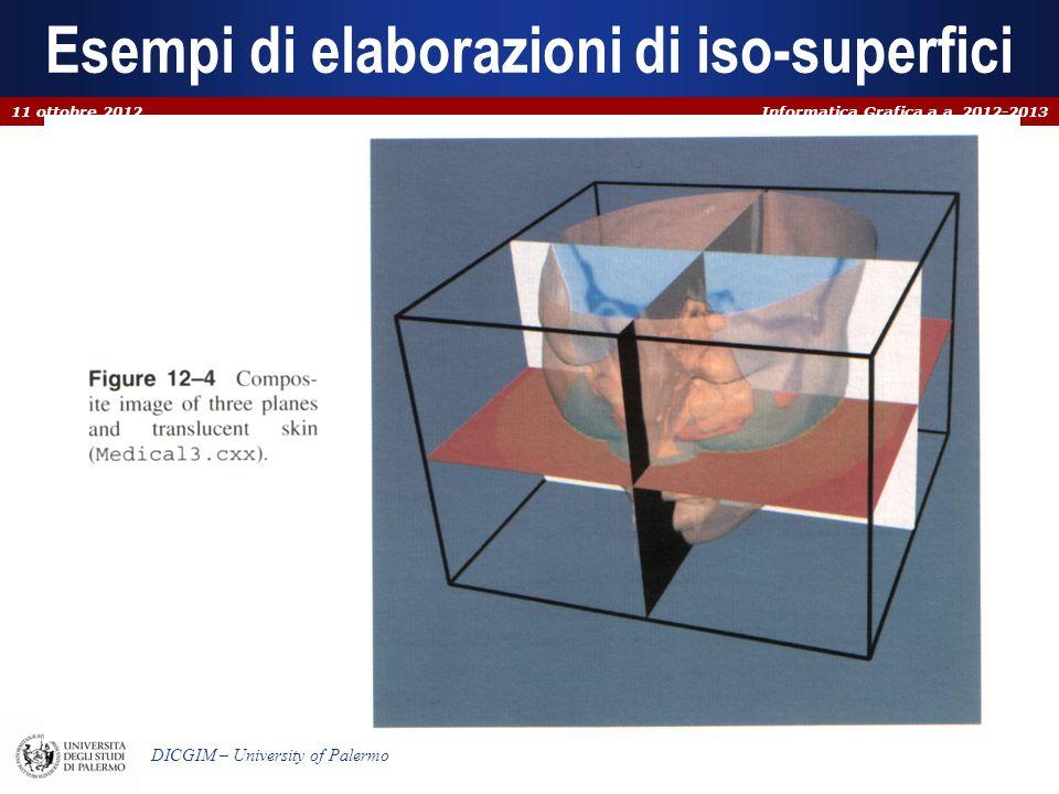 Informatica Grafica a.a. 2012-2013 DICGIM – University of Palermo Esempi di elaborazioni di iso-superfici 11 ottobre 2012