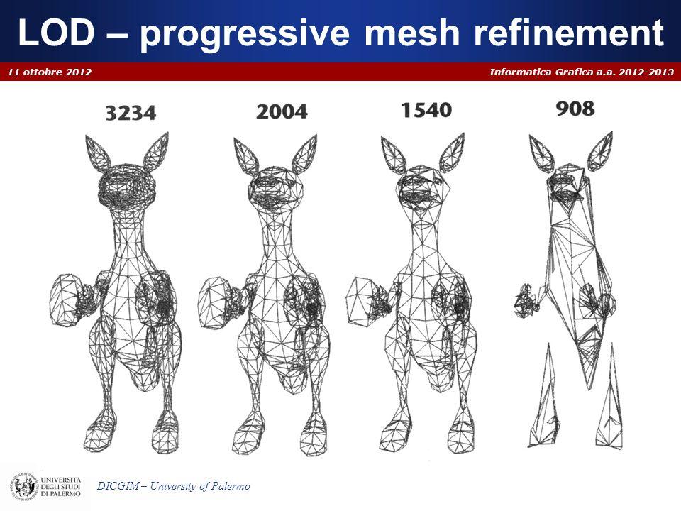 Informatica Grafica a.a. 2012-2013 DICGIM – University of Palermo LOD – progressive mesh refinement 11 ottobre 2012