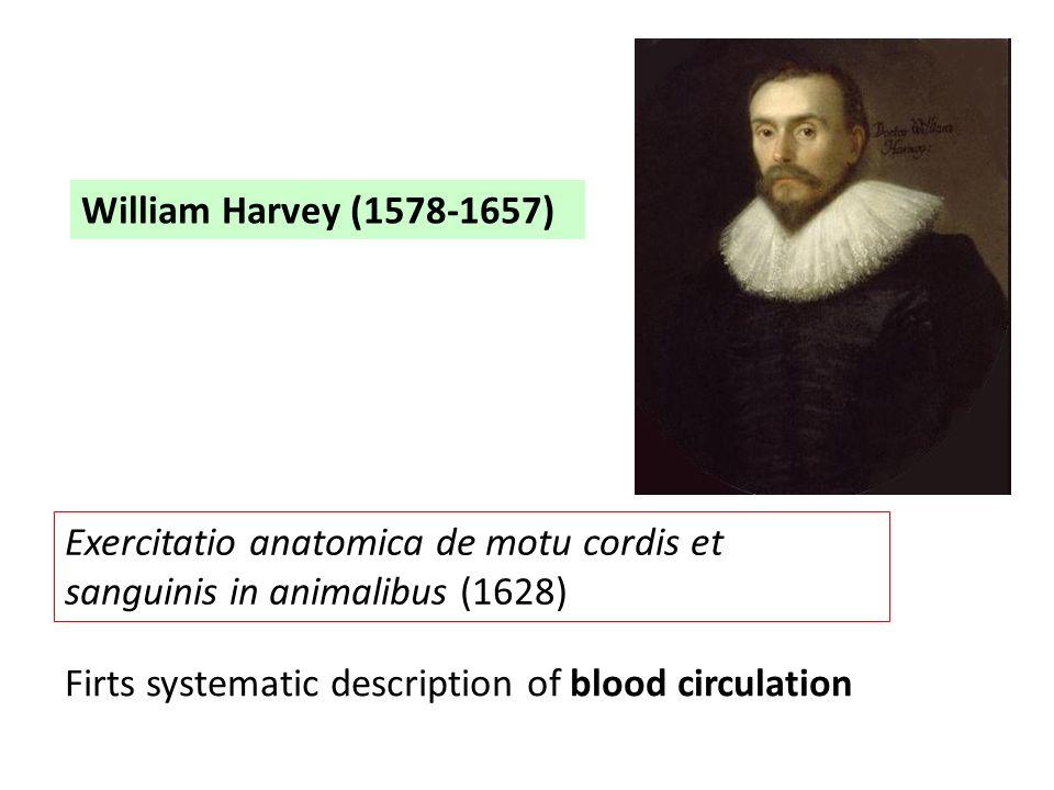 William Harvey (1578-1657) Exercitatio anatomica de motu cordis et sanguinis in animalibus (1628) Firts systematic description of blood circulation