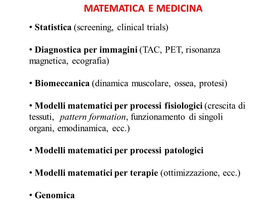Statistica (screening, clinical trials) Diagnostica per immagini (TAC, PET, risonanza magnetica, ecografia) Biomeccanica (dinamica muscolare, ossea, p