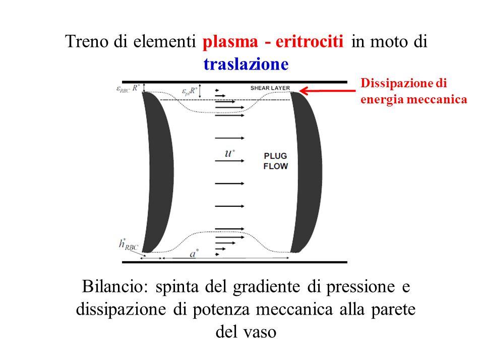 Treno di elementi plasma - eritrociti in moto di traslazione Bilancio: spinta del gradiente di pressione e dissipazione di potenza meccanica alla pare