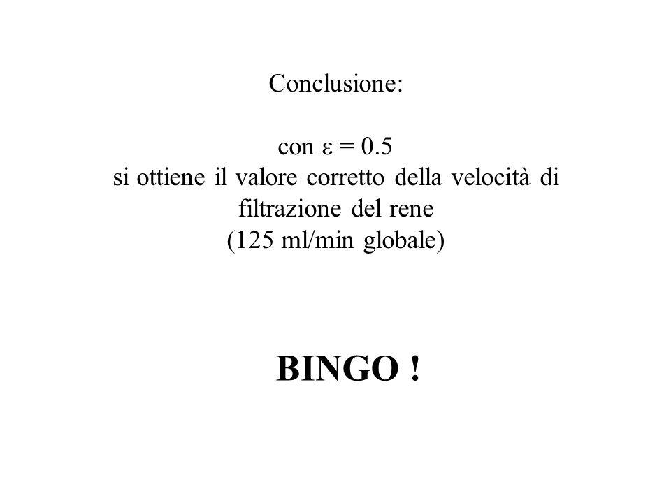 Conclusione: con = 0.5 si ottiene il valore corretto della velocità di filtrazione del rene (125 ml/min globale) BINGO !