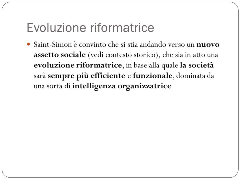 Evoluzione riformatrice Saint-Simon è convinto che si stia andando verso un nuovo assetto sociale (vedi contesto storico), che sia in atto una evoluzi