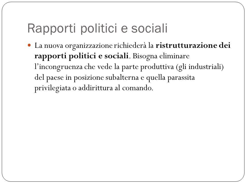Rapporti politici e sociali La nuova organizzazione richiederà la ristrutturazione dei rapporti politici e sociali. Bisogna eliminare lincongruenza ch
