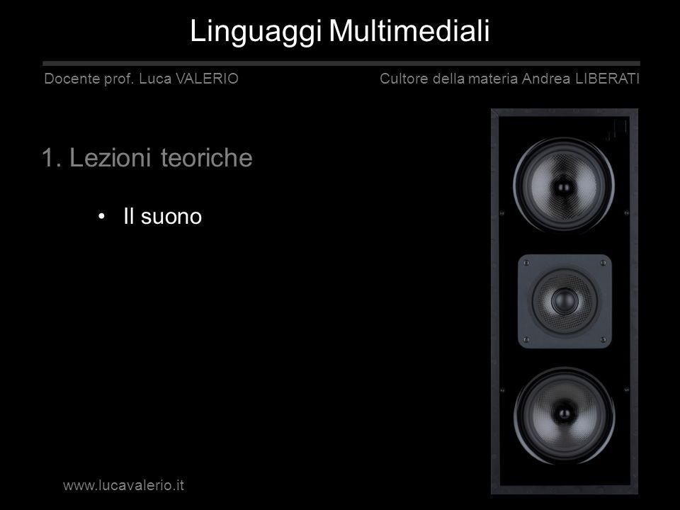 Il suono Linguaggi Multimediali Docente prof. Luca VALERIO Cultore della materia Andrea LIBERATI 1. Lezioni teoriche www.lucavalerio.it