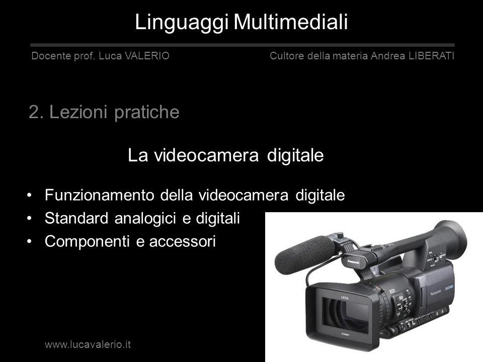 La videocamera digitale Linguaggi Multimediali Docente prof. Luca VALERIO Cultore della materia Andrea LIBERATI Funzionamento della videocamera digita