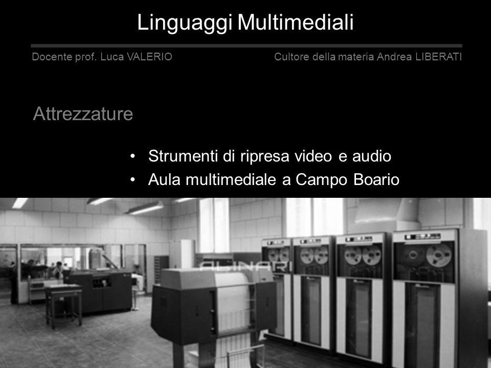 Strumenti di ripresa video e audio Aula multimediale a Campo Boario Linguaggi Multimediali blog www.accavideo.blogspot.com Docente prof. Luca VALERIO