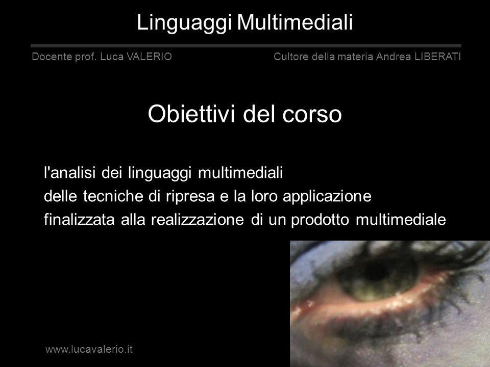 Obiettivi del corso l'analisi dei linguaggi multimediali delle tecniche di ripresa e la loro applicazione finalizzata alla realizzazione di un prodott