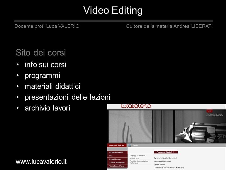 info sui corsi programmi materiali didattici presentazioni delle lezioni archivio lavori Docente prof. Luca VALERIO Cultore della materia Andrea LIBER