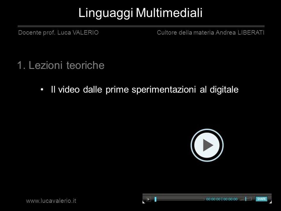Il video dalle prime sperimentazioni al digitale Linguaggi Multimediali Docente prof. Luca VALERIO Cultore della materia Andrea LIBERATI 1. Lezioni te