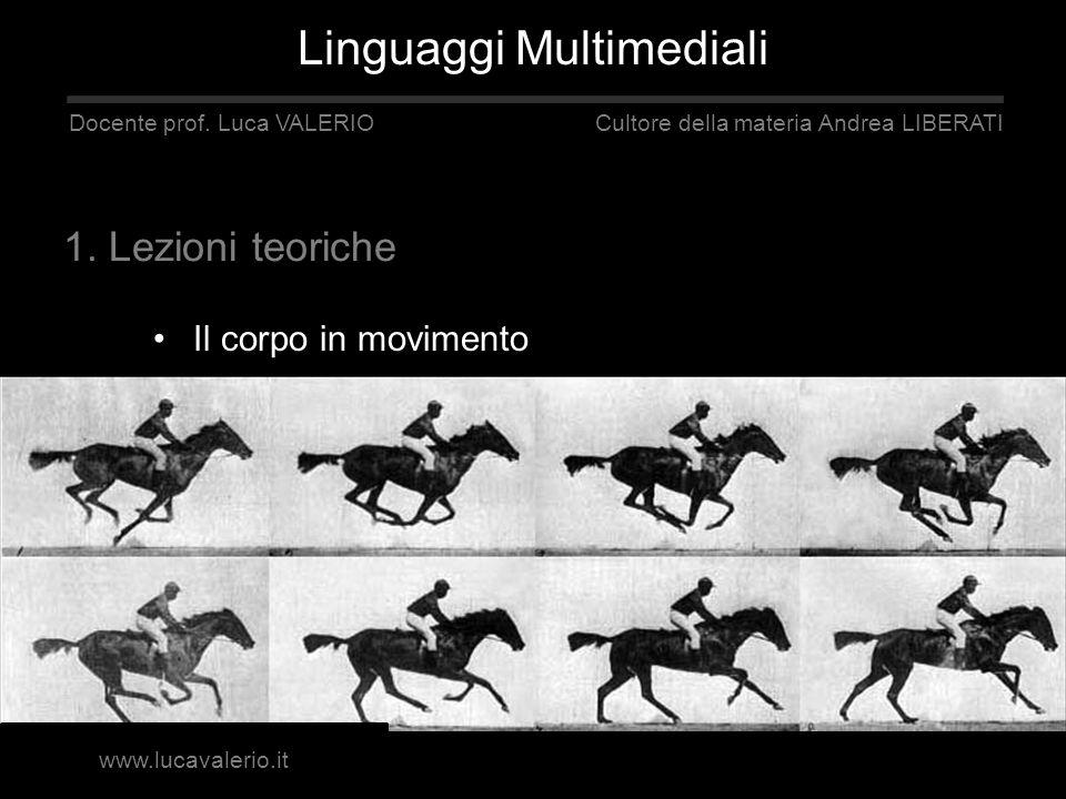 Il corpo in movimento Linguaggi Multimediali Docente prof. Luca VALERIO Cultore della materia Andrea LIBERATI 1. Lezioni teoriche www.lucavalerio.it
