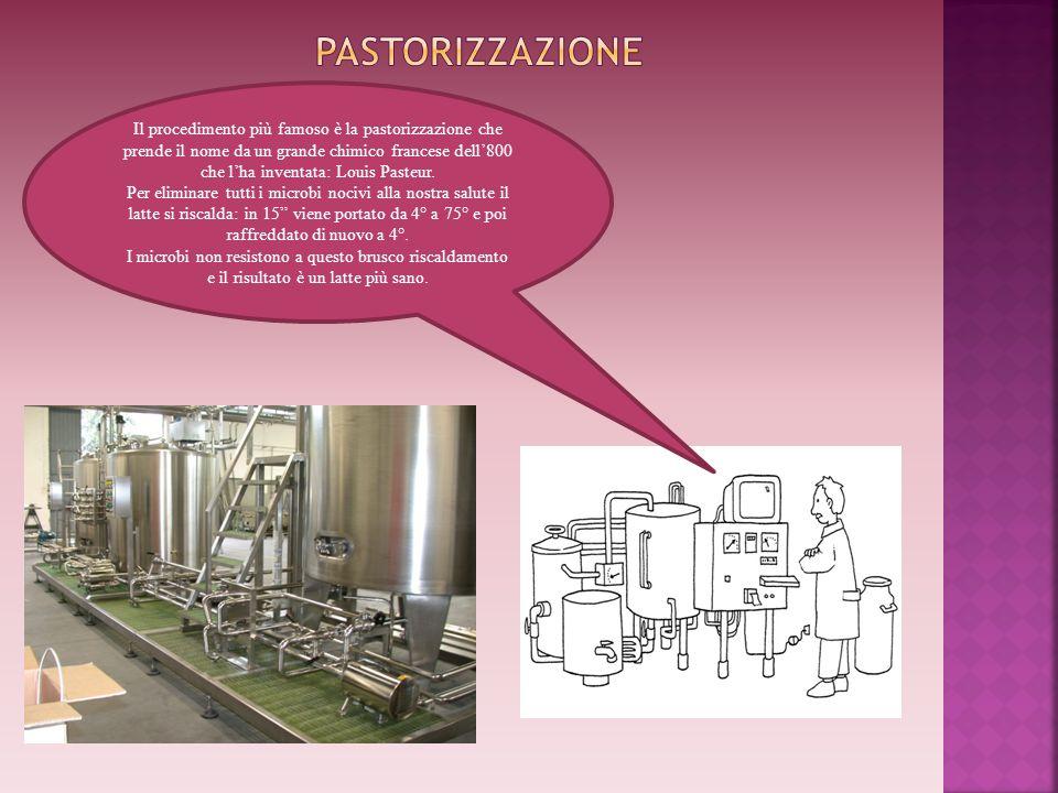 Il procedimento più famoso è la pastorizzazione che prende il nome da un grande chimico francese dell800 che lha inventata: Louis Pasteur. Per elimina