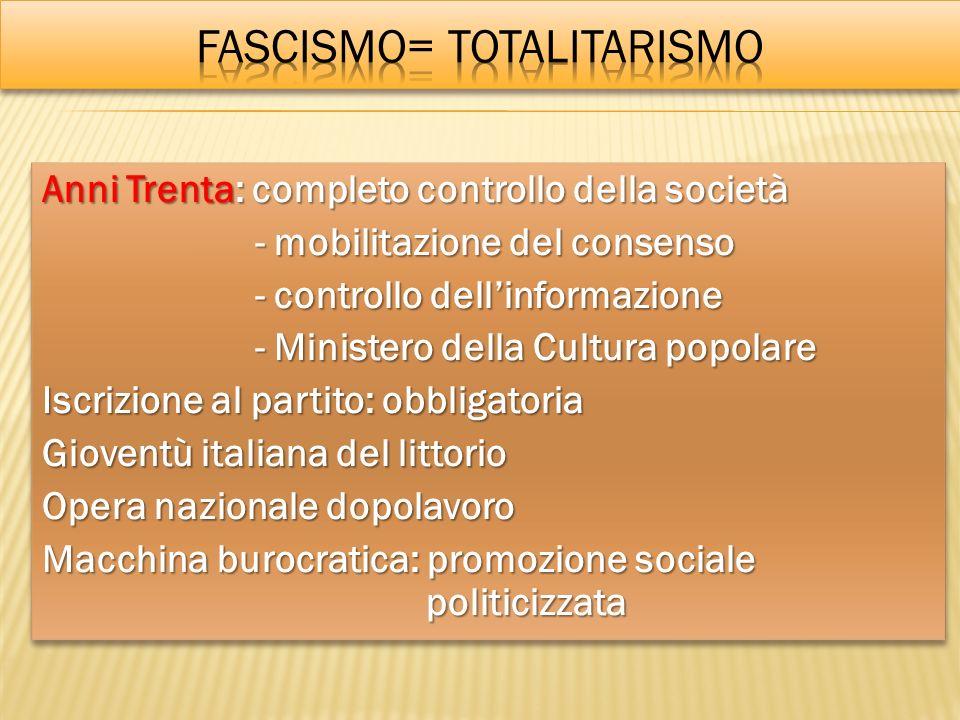 Anni Trenta: completo controllo della società - mobilitazione del consenso - mobilitazione del consenso - controllo dellinformazione - controllo delli