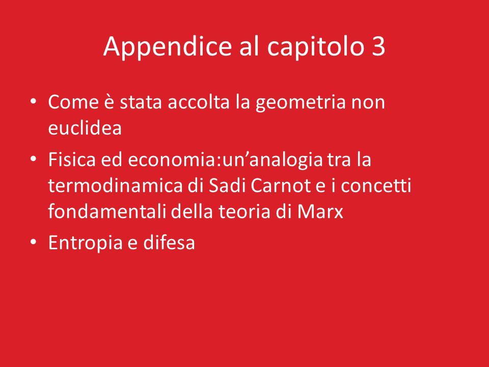 Appendice al capitolo 3 Come è stata accolta la geometria non euclidea Fisica ed economia:unanalogia tra la termodinamica di Sadi Carnot e i concetti