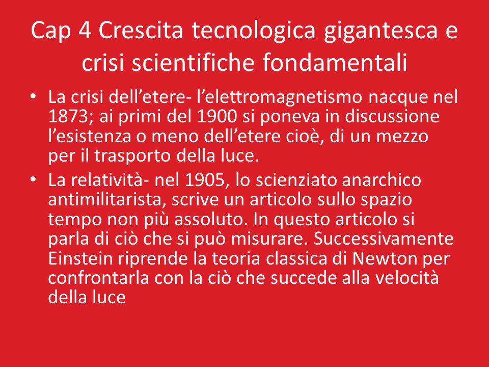Cap 4 Crescita tecnologica gigantesca e crisi scientifiche fondamentali La crisi delletere- lelettromagnetismo nacque nel 1873; ai primi del 1900 si p