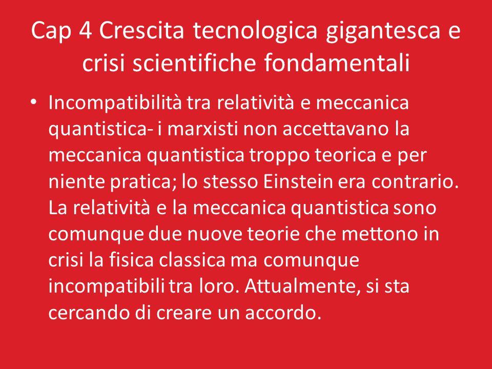 Cap 4 Crescita tecnologica gigantesca e crisi scientifiche fondamentali Incompatibilità tra relatività e meccanica quantistica- i marxisti non accetta