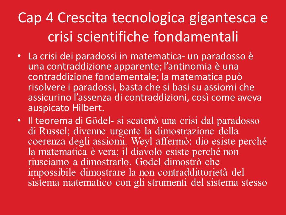 Cap 4 Crescita tecnologica gigantesca e crisi scientifiche fondamentali La crisi dei paradossi in matematica- un paradosso è una contraddizione appare