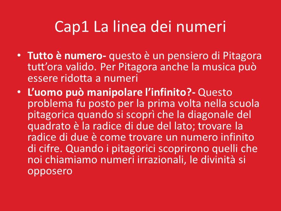 Cap1 La linea dei numeri Tutto è numero- questo è un pensiero di Pitagora tuttora valido. Per Pitagora anche la musica può essere ridotta a numeri Luo