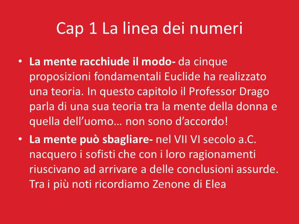 Cap 1 La linea dei numeri La mente racchiude il modo- da cinque proposizioni fondamentali Euclide ha realizzato una teoria. In questo capitolo il Prof
