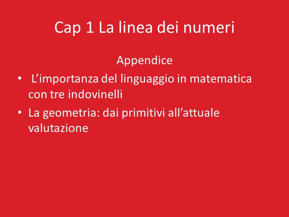 Cap 1 La linea dei numeri Appendice Limportanza del linguaggio in matematica con tre indovinelli La geometria: dai primitivi allattuale valutazione