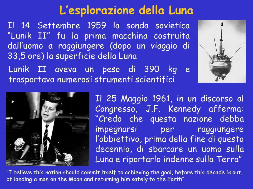 Lesplorazione della Luna Il 14 Settembre 1959 la sonda sovietica Lunik II fu la prima macchina costruita dalluomo a raggiungere (dopo un viaggio di 33,5 ore) la superficie della Luna Il 25 Maggio 1961, in un discorso al Congresso, J.F.