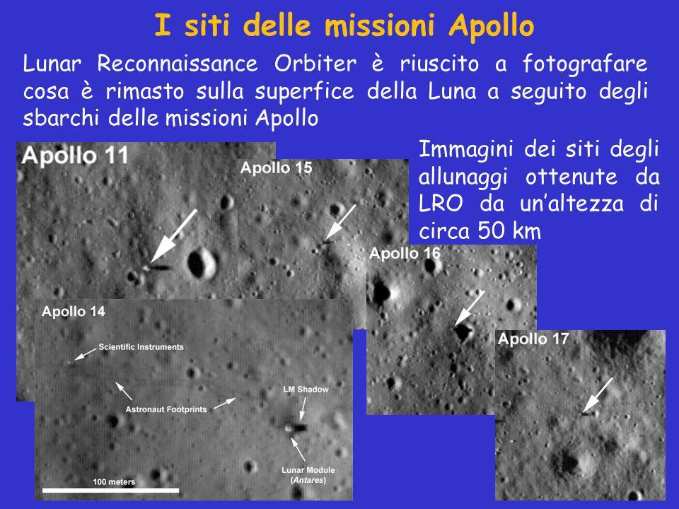 Immagini dei siti degli allunaggi ottenute da LRO da unaltezza di circa 50 km I siti delle missioni Apollo Lunar Reconnaissance Orbiter è riuscito a fotografare cosa è rimasto sulla superfice della Luna a seguito degli sbarchi delle missioni Apollo