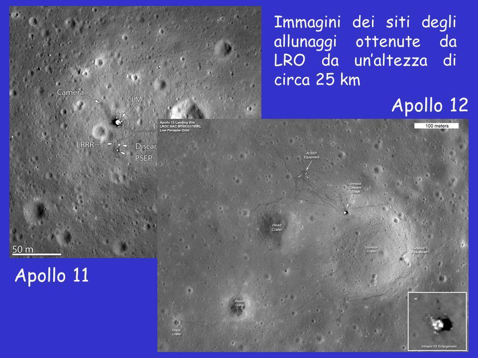 Apollo 11 Apollo 12 Immagini dei siti degli allunaggi ottenute da LRO da unaltezza di circa 25 km