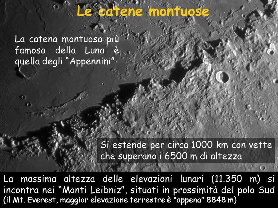 Le catene montuose Si estende per circa 1000 km con vette che superano i 6500 m di altezza La massima altezza delle elevazioni lunari (11.350 m) si incontra nei Monti Leibniz, situati in prossimità del polo Sud (il Mt.