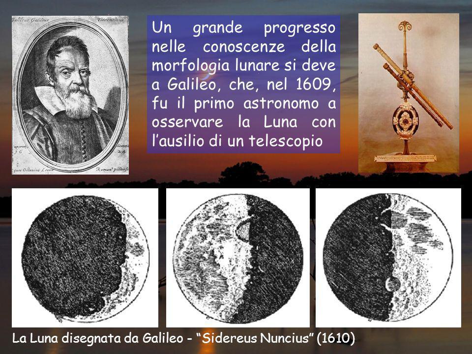 Un grande progresso nelle conoscenze della morfologia lunare si deve a Galileo, che, nel 1609, fu il primo astronomo a osservare la Luna con lausilio di un telescopio La Luna disegnata da Galileo - Sidereus Nuncius (1610)