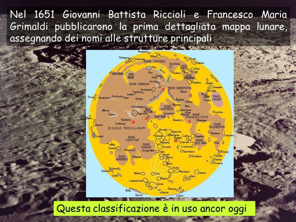 Nel 1651 Giovanni Battista Riccioli e Francesco Maria Grimaldi pubblicarono la prima dettagliata mappa lunare, assegnando dei nomi alle strutture principali Questa classificazione è in uso ancor oggi