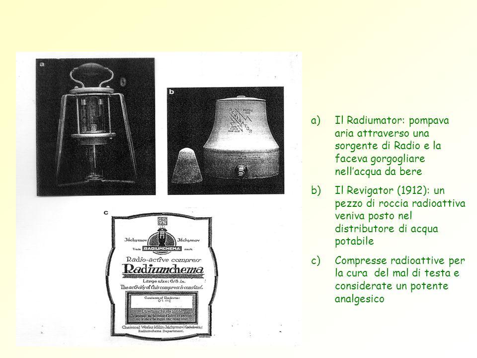a)Il Radiumator: pompava aria attraverso una sorgente di Radio e la faceva gorgogliare nellacqua da bere b)Il Revigator (1912): un pezzo di roccia rad