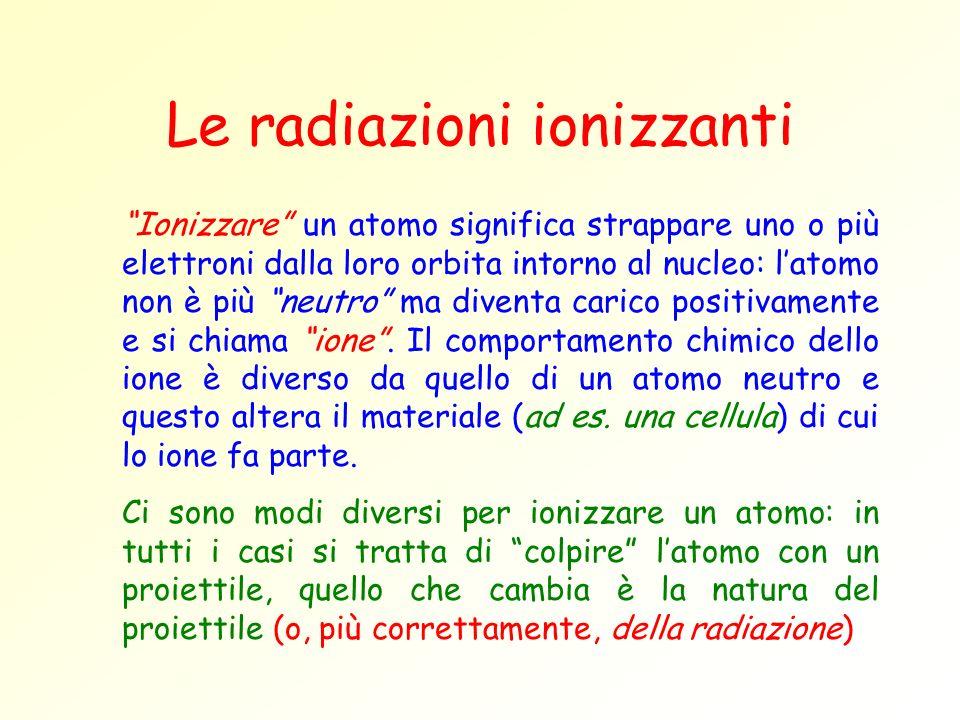 Le radiazioni ionizzanti Ionizzare un atomo significa strappare uno o più elettroni dalla loro orbita intorno al nucleo: latomo non è più neutro ma di