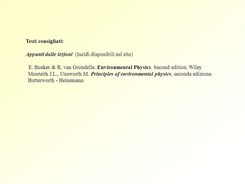Testi consigliati: Appunti dalle lezioni (lucidi disponibili sul sito) E. Boeker & R. van Grondelle. Environmental Physics. Second edition. Wiley Mont