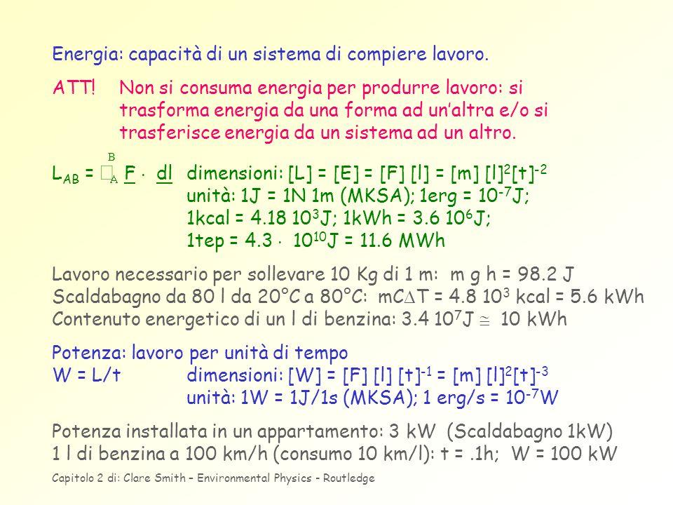 Energia: capacità di un sistema di compiere lavoro. ATT! Non si consuma energia per produrre lavoro: si trasforma energia da una forma ad unaltra e/o