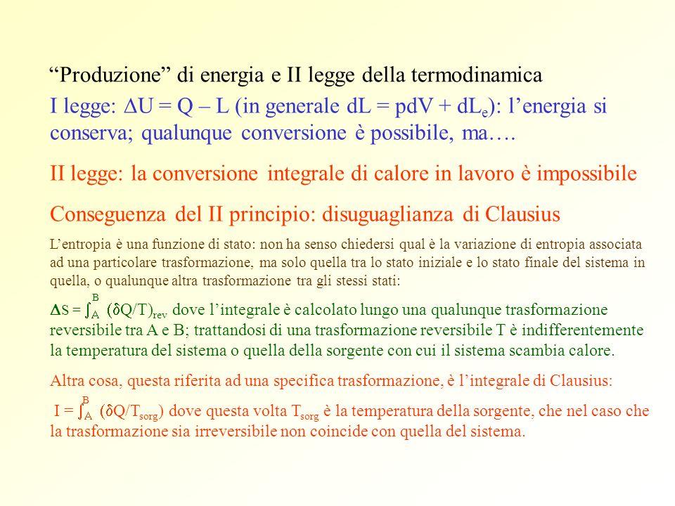 Produzione di energia e II legge della termodinamica I legge: U = Q – L (in generale dL = pdV + dL e ): lenergia si conserva; qualunque conversione è