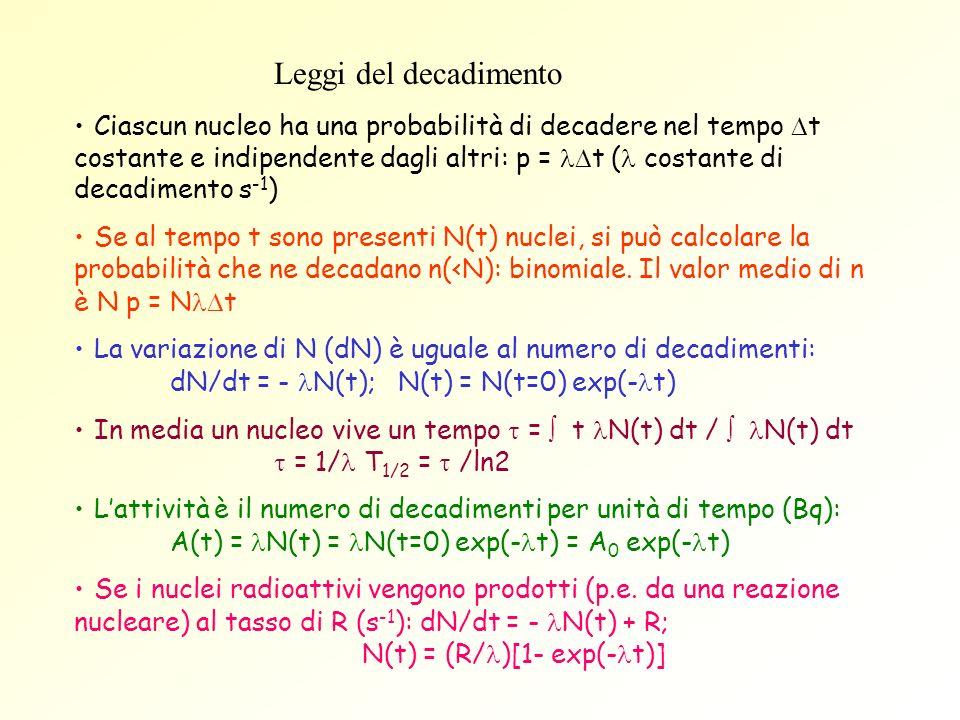 Leggi del decadimento Ciascun nucleo ha una probabilità di decadere nel tempo t costante e indipendente dagli altri: p = t ( costante di decadimento s