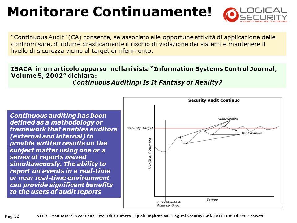 ATED – Monitorare in continuo i livelli di sicurezza – Quali Implicazioni. Logical Security S.r.l. 2011 Tutti i diritti riservati Pag.12 Continuous au