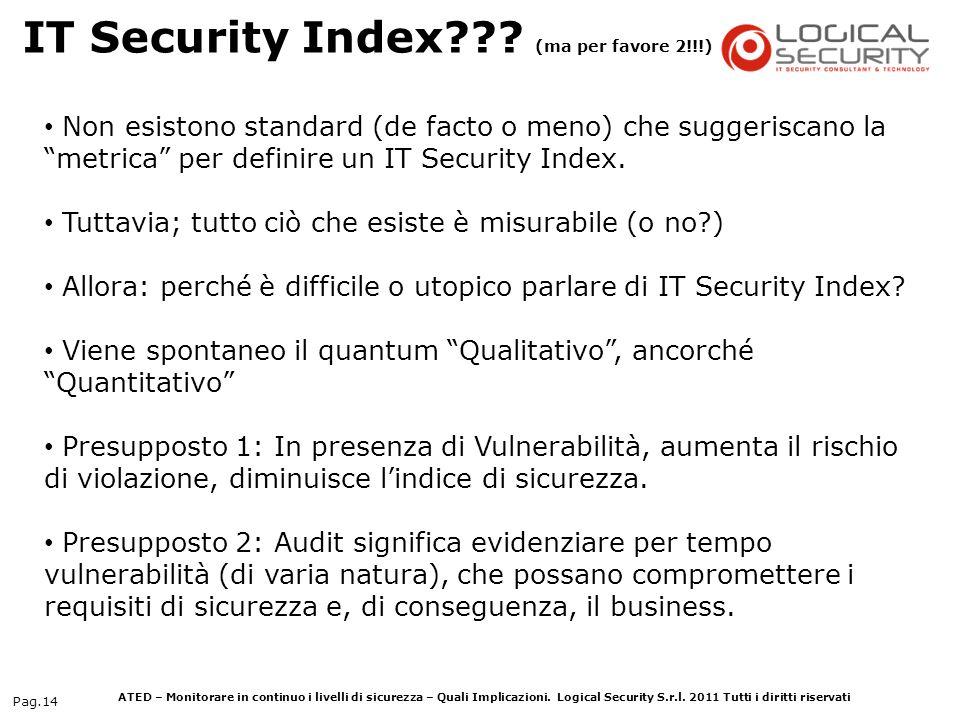 ATED – Monitorare in continuo i livelli di sicurezza – Quali Implicazioni. Logical Security S.r.l. 2011 Tutti i diritti riservati Pag.14 Non esistono