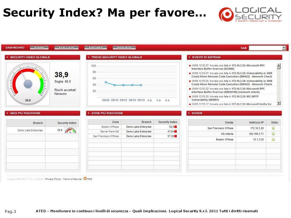 ATED – Monitorare in continuo i livelli di sicurezza – Quali Implicazioni. Logical Security S.r.l. 2011 Tutti i diritti riservati Pag.3 Security Index