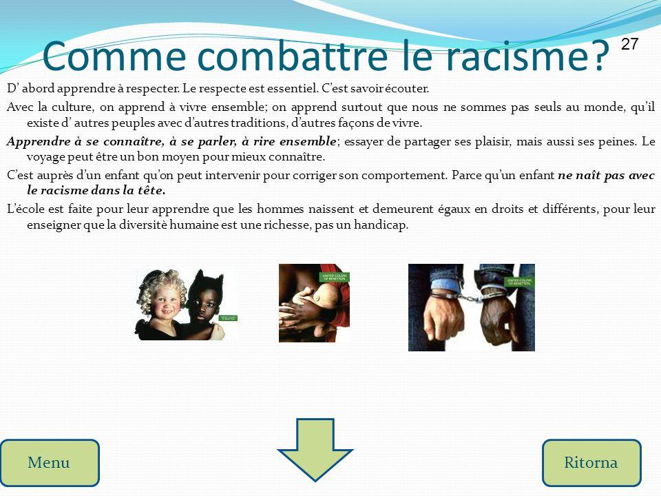 Le racisme Le racisme consiste à se méfier et même à mépriser des personnes ayant des caractéristiques physiques et culturelles différentes des nôtres