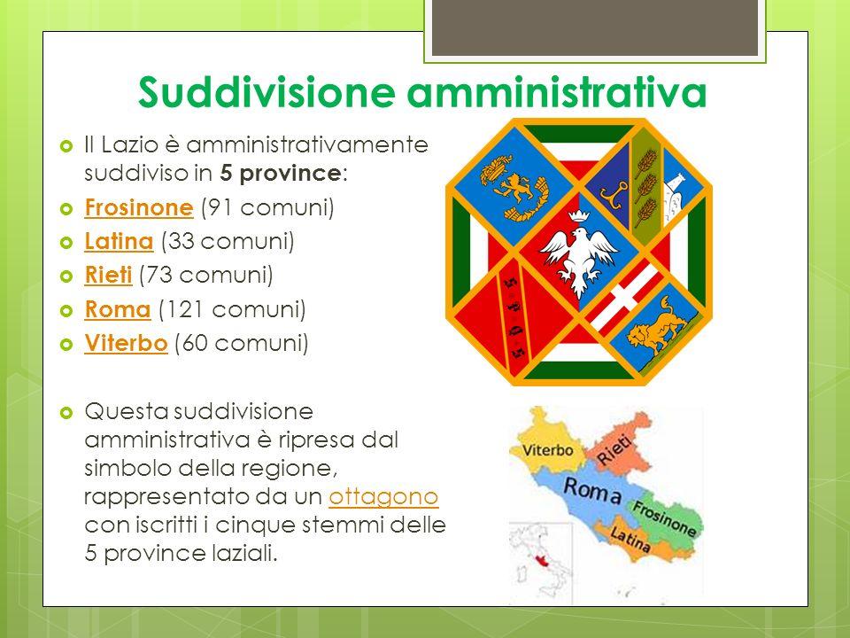 Suddivisione amministrativa Il Lazio è amministrativamente suddiviso in 5 province : Frosinone (91 comuni) Frosinone Latina (33 comuni) Latina Rieti (