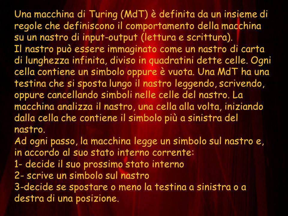 Una macchina di Turing (MdT) è definita da un insieme di regole che definiscono il comportamento della macchina su un nastro di input-output (lettura e scrittura).