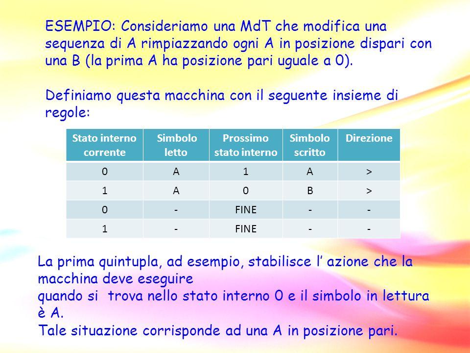 ESEMPIO: Consideriamo una MdT che modifica una sequenza di A rimpiazzando ogni A in posizione dispari con una B (la prima A ha posizione pari uguale a 0).
