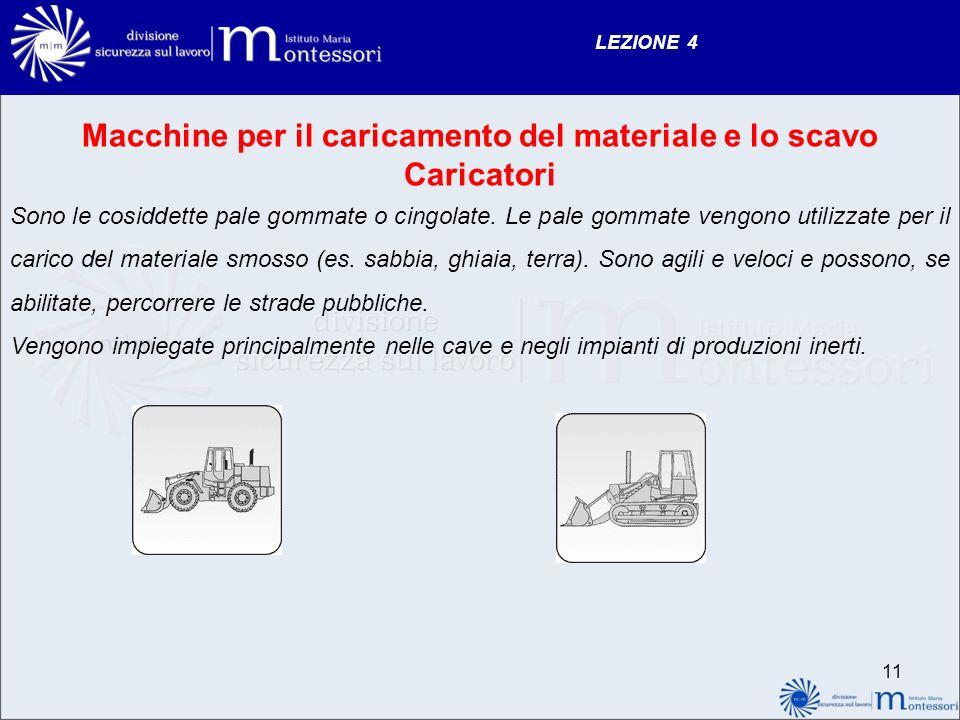LEZIONE 4 Macchine per il caricamento del materiale e lo scavo Caricatori Sono le cosiddette pale gommate o cingolate. Le pale gommate vengono utilizz
