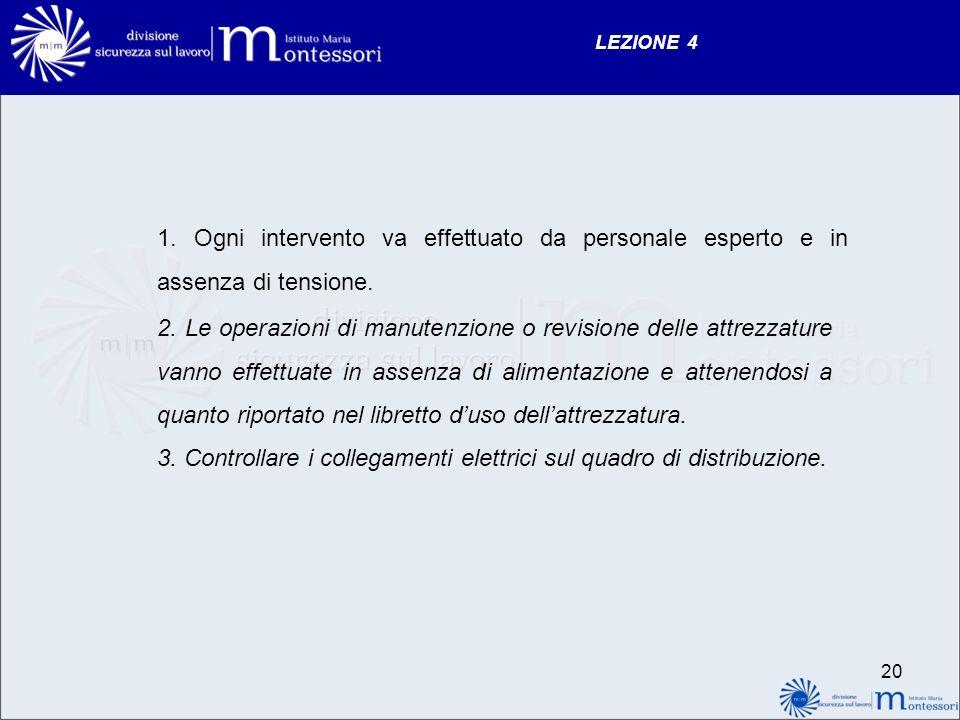 LEZIONE 4 1. Ogni intervento va effettuato da personale esperto e in assenza di tensione. 2. Le operazioni di manutenzione o revisione delle attrezzat