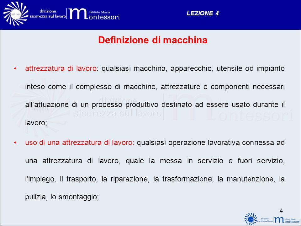LEZIONE 4 4 Definizione di macchina attrezzatura di lavoro: qualsiasi macchina, apparecchio, utensile od impianto inteso come il complesso di macchine